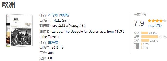 《欧洲:1453 年以来的争霸之途》by 布伦丹・西姆斯