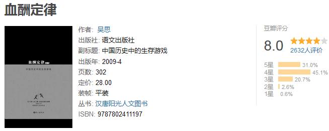 《血酬定律:中国历史中的生存游戏》by 吴思