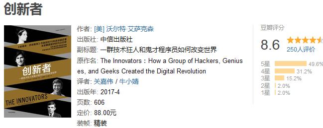 《创新者:一群技术狂人和鬼才程序员如何改变世界》by 沃尔特・艾萨克森