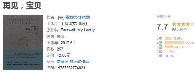 《再见,宝贝》by 雷蒙德・钱德勒
