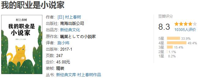 《我的职业是小说家》by 村上春树