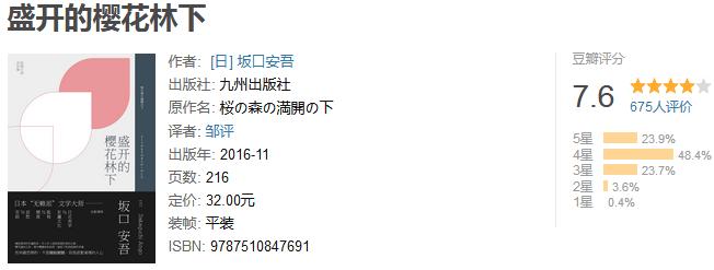 《盛开的樱花林下》by 坂口安吾