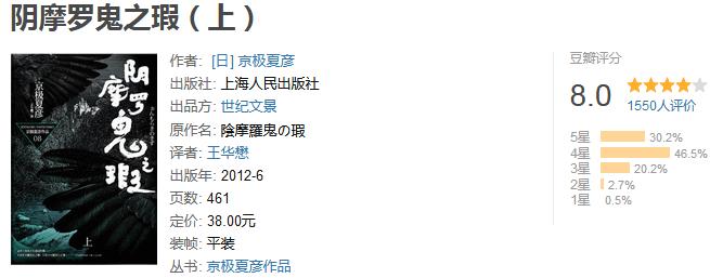 《阴摩罗鬼之瑕》(上)by 京极夏彦