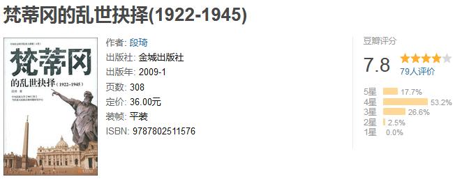 《梵蒂冈的乱世抉择》(1922-1945)by 段琦