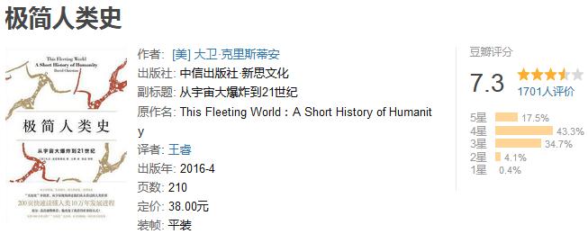 《中信经典历史之世界史篇》(共 6 册)by 大卫・克里斯蒂安