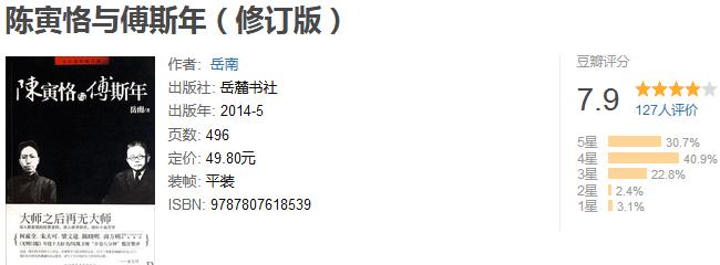 《陈寅恪与傅斯年》(修订版)by 岳南