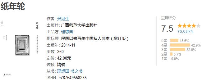 《纸年轮:民国以来百年中国私人读本》by 张冠生