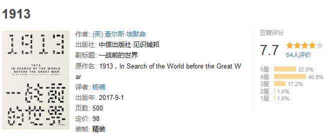 《1913,一战前的世界》by 查尔斯・埃默森
