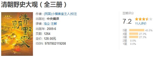 《清朝野史大观》(全三册)by 小横香室主人