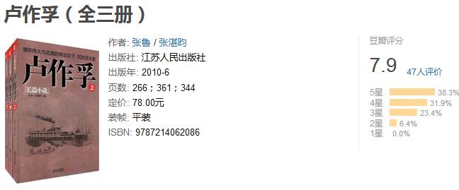 《卢作孚套装》(全三册)by 张鲁/张湛昀